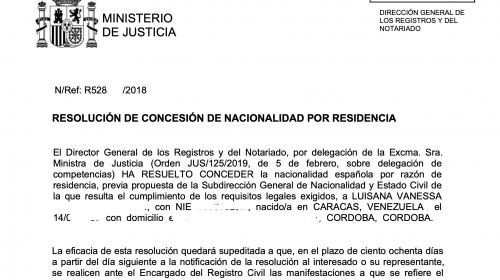 Más de 60 Resoluciones de Concesión de Nacionalidad Española: 9 diciembre 2019