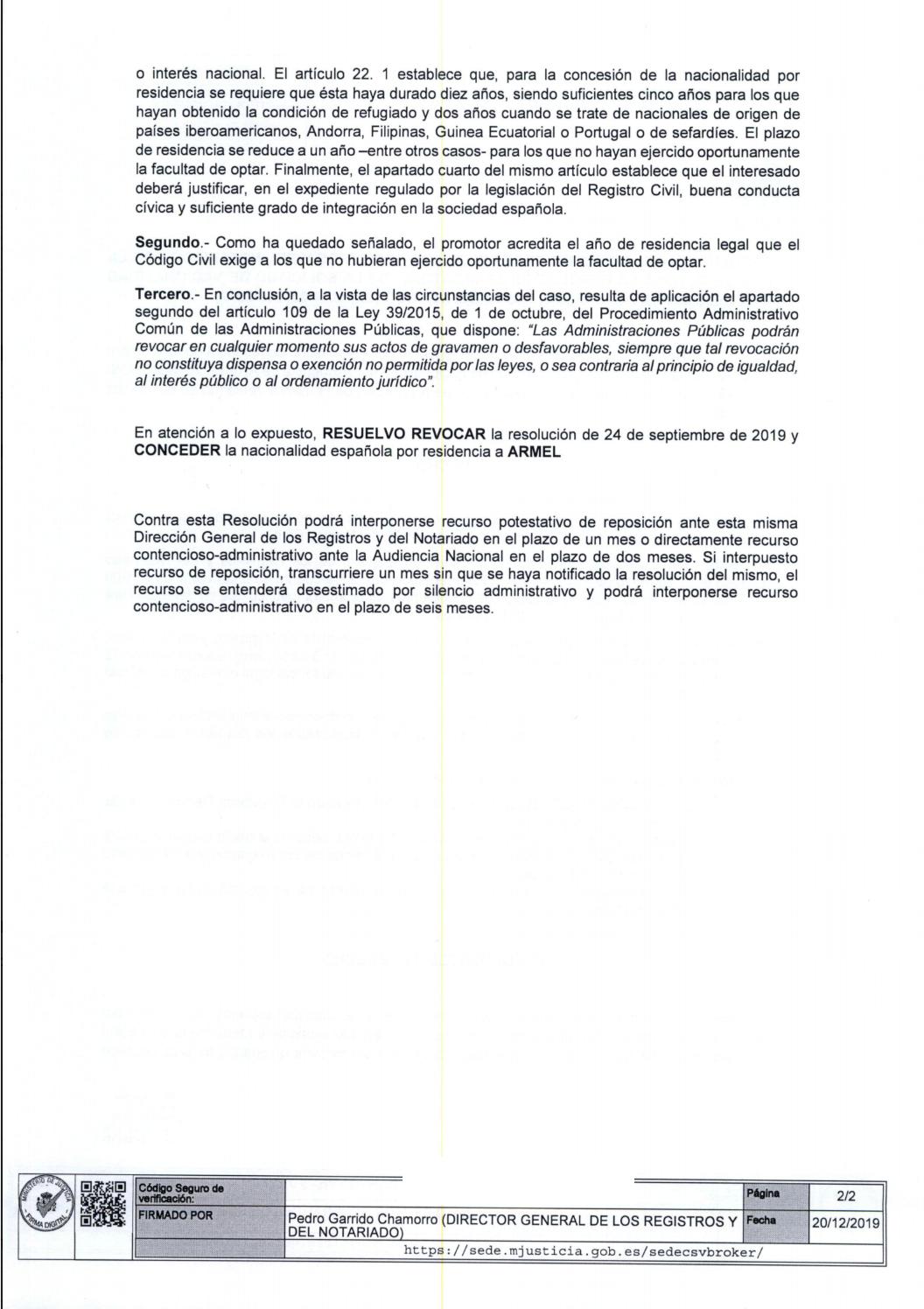 revocación nacionalidad española