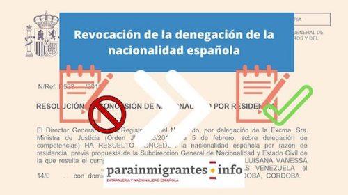 Revocación de la Denegación de Nacionalidad Española