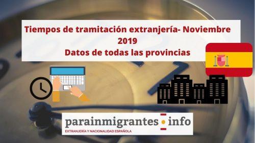 Tiempos de tramitación extranjería- Noviembre 2019