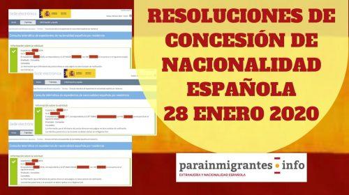 Resoluciones de Concesión de Nacionalidad Española 28 enero 2020