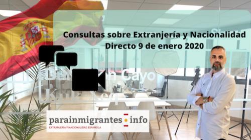 Consultas sobre Extranjería y Nacionalidad- Directo 9 enero 2020- Vicente Marín
