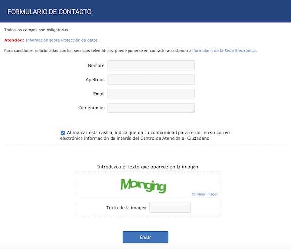 formulario de contacto para la consulta del expediente de nacionalidad española
