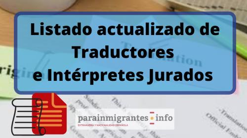 Listado actualizado Traductores e Intérpretes Jurado