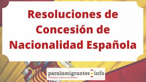 Resoluciones de Concesión de Nacionalidad Española 31 enero 2020