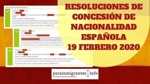 Resoluciones de Concesión de Nacionalidad Española 19 febrero 2020