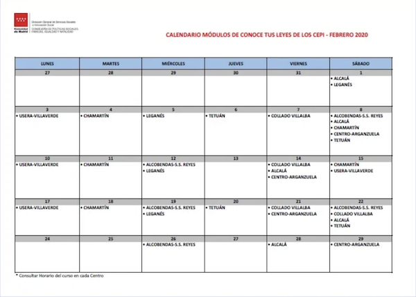 calendario del curso conoce tus leyes febrero de 2020