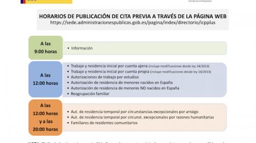 Horarios de publicación de citas de extranjería en Madrid