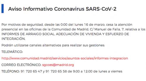 Aviso Informes de arraigo y reagrupación en la Comunidad de Madrid durante Covid19