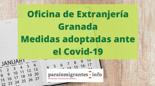 Oficina de extranjería Granada- Medidas adoptadas ante el Coronavirus