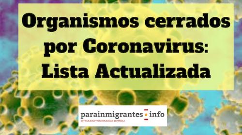 Organismos cerrados por el Coronavirus: Lista Actualizada