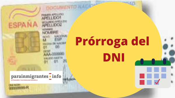 prórroga del Documento Nacional de Identidad