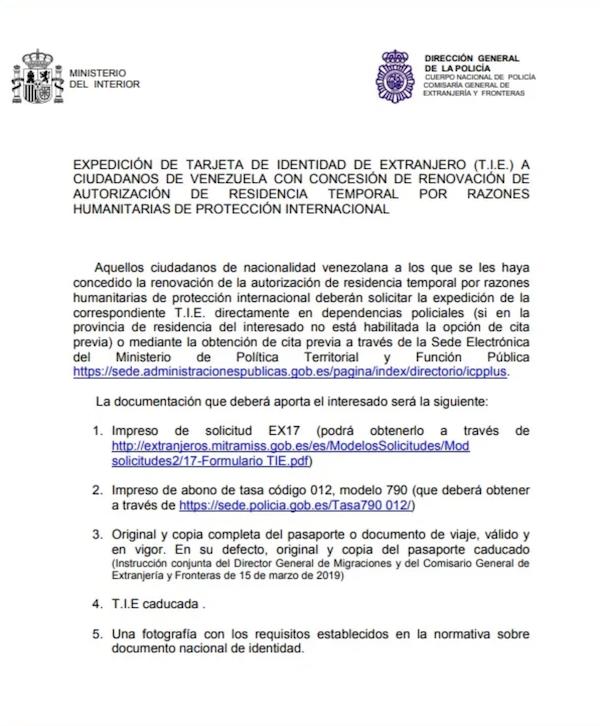 Proceso de Renovación de Residencia Circunstancias Excepcionales para venezolanos