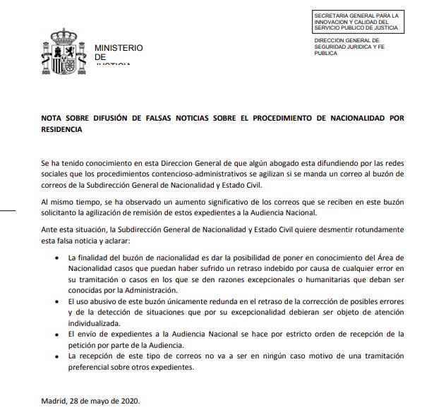 comunicado Ministerio de Justicia