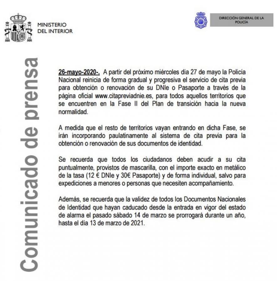 Nota de Prensa Citas previas disponibles para renovar y obtener el DNI o Pasaporte