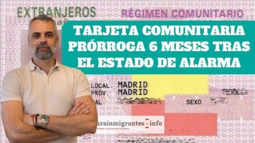 Prórroga de la Tarjeta Comunitaria tras el Estado de Alarma