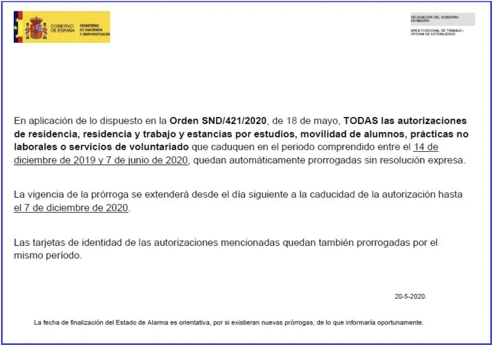 Prórroga de autorizaciones - Oficina de Extranjería en Madrid Cartel