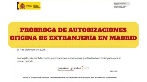 Prórroga de autorizaciones – Oficina de Extranjería en Madrid