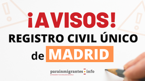 Avisos del Registro Civil Único de Madrid