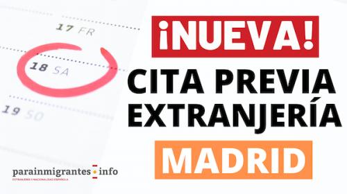NUEVA CITA PREVIA EXTRANJERÍA MADRID