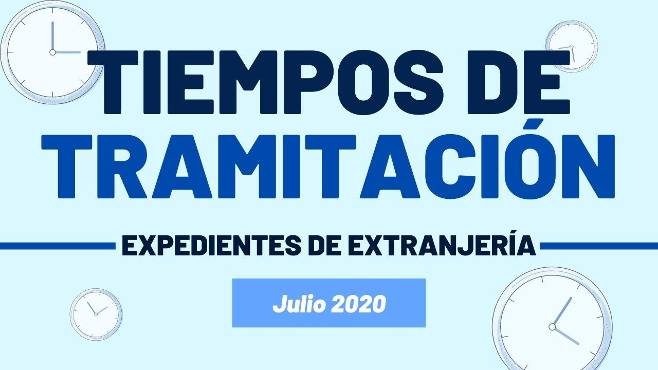 Tiempos de tramitación de los expedientes de extranjería Julio 2020