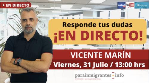 Consultas extranjería y Nacionalidad Española- Directo 31 de julio 2020