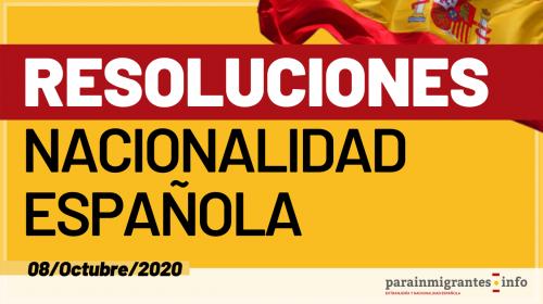 Resoluciones de Concesión de Nacionalidad Española 8 de Octubre de 2020