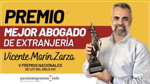 Vicente Marín recibe el Premio al Mejor Abogado de Extranjería 2020