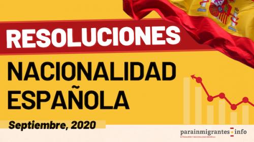 Resoluciones Expedientes de Nacionalidad Española- Septiembre 2020