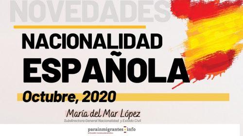 Novedades Nacionalidad Española- Octubre 2020