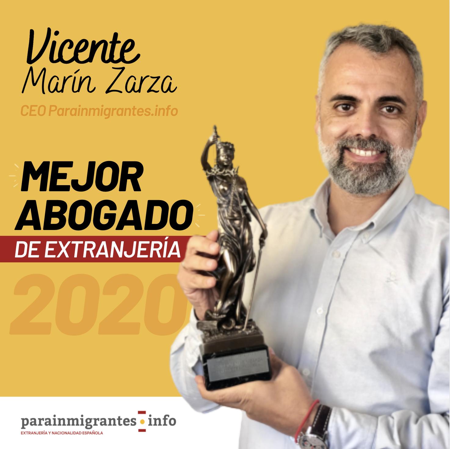 Premio Mejor Abogado de Extranjería 2020 Vicente Marín