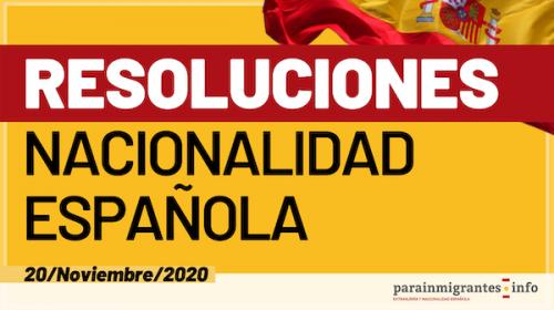 Resoluciones de Concesión de Nacionalidad Española 20 de Noviembre de 2020