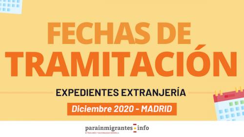 Fechas de tramitación de Expedientes de Extranjería Madrid-Diciembre 2020