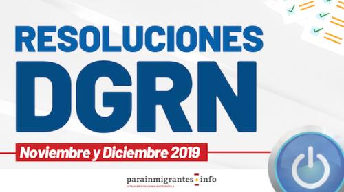 Resoluciones DGRN – Noviembre y Diciembre 2019