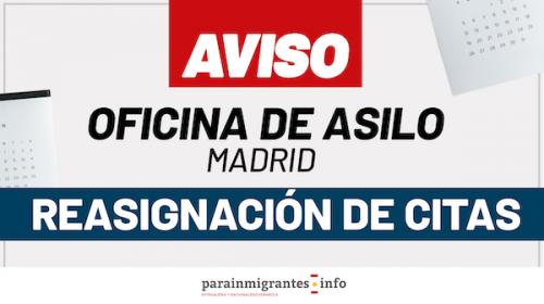 Aviso Oficina de Asilo Madrid: Reasignación de Citas