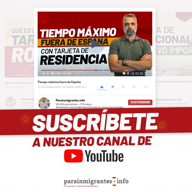 Banner suscripción canal de YouTube de Parainmigrantes.info