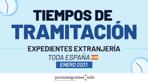 Tiempos de tramitación expedientes extranjería- Toda España – Enero 2021