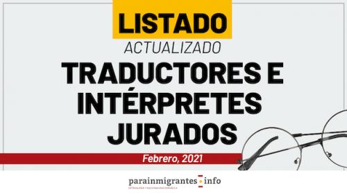 Listado actualizado Traductores e Intérpretes Jurados- Febrero 2021