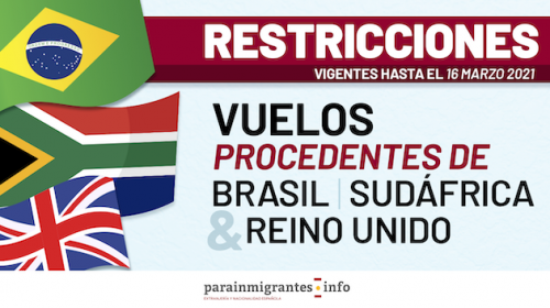 Restricciones en los vuelos procedentes de Reino Unido,Brasil y Sudáfrica