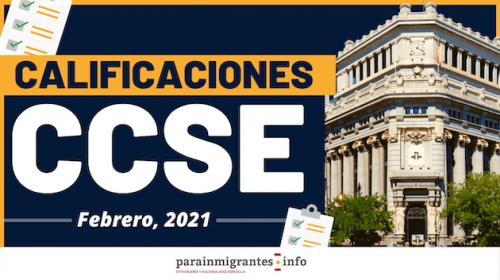 Calificaciones CCSE – Febrero 2021
