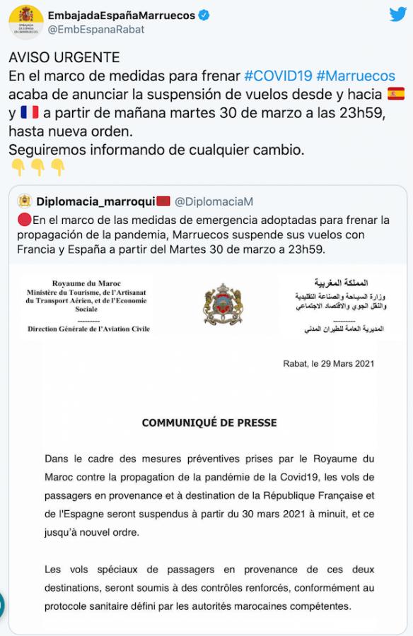 Marruecos suspende vuelos con España