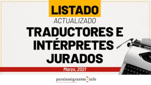 Listado actualizado Traductores e Intérpretes Jurados- Marzo 2021