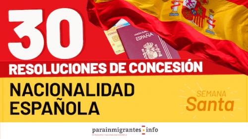 Resoluciones de Concesión de Nacionalidad Española- Semana Santa 2021