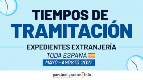 Tiempos de tramitación Expedientes de Extranjería- De Mayo a Agosto 2021
