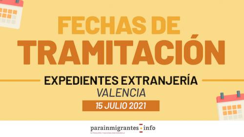 Fechas de tramitación expedientes extranjería en Valencia