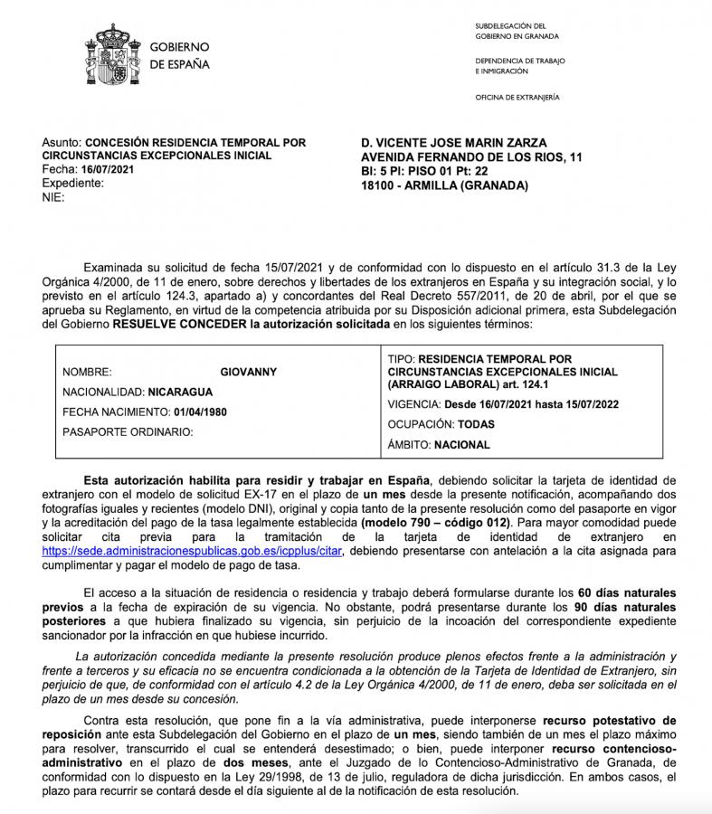 Nuestro primer Arraigo Laboral en Granada concedido resolución de Giovanny