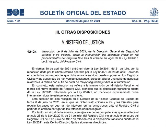 Instrucción sobre la Intervención del Ministerio Fiscal en procedimientos del Registro Civil BOE