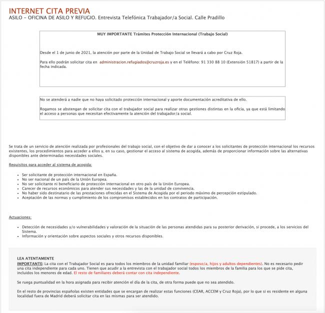 Oficina de Asilo y Refugio en Madrid Cita telefónica con Trabajador Social Sede Electrónica Detalles
