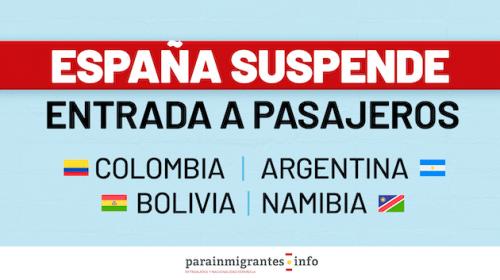 España suspende la entrada de pasajeros de Colombia, Argentina, Bolivia y Namibia
