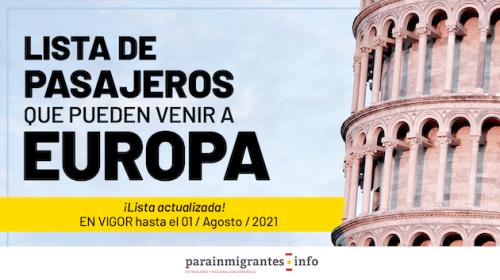 Listado de pasajeros que pueden venir a Europa- En vigor hasta el  01 de Agosto